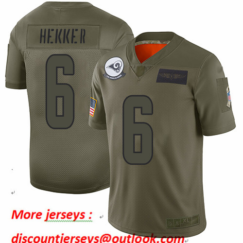 Rams #6 Johnny Hekker Camo Youth Stitched Football Limited 2019 Salute to Service Jersey