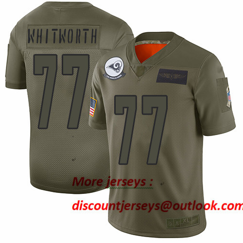 Rams #77 Andrew Whitworth Camo Men's Stitched Football Limited 2019 Salute To Service Jersey