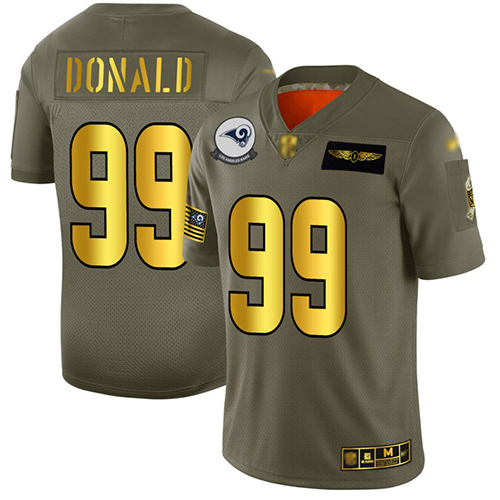 Rams #99 Aaron Donald Camo Gold Men's Stitched Football Limited 2019 Salute To Service Jersey