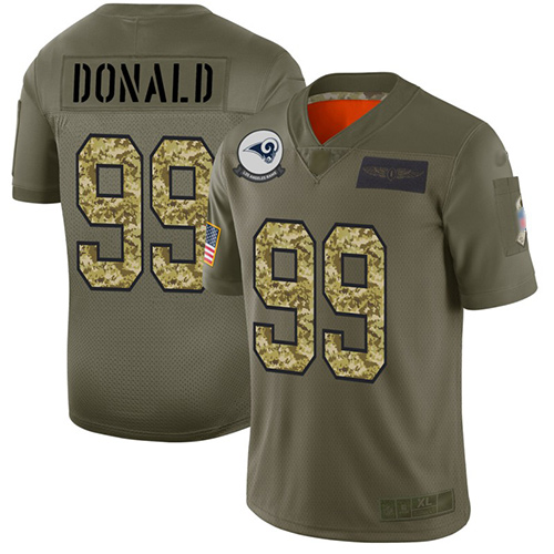 Rams #99 Aaron Donald Olive Camo Men's Stitched Football Limited 2019 Salute To Service Jersey