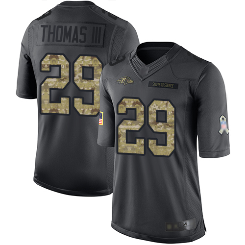Ravens #29 Earl Thomas III Black Youth Stitched Football Limited 2016 Salute to Service Jersey