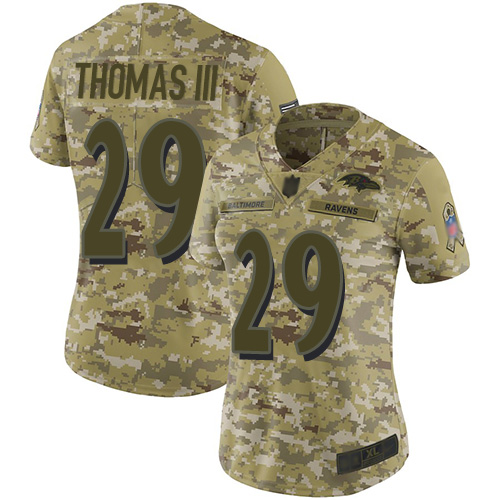 Ravens #29 Earl Thomas III Camo Women's Stitched Football Limited 2018 Salute to Service Jersey