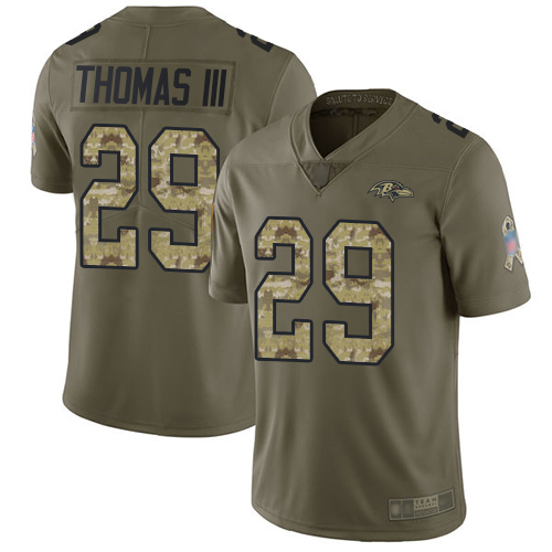 Ravens #29 Earl Thomas III Olive Camo Youth Stitched Football Limited 2017 Salute to Service Jersey