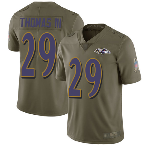 Ravens #29 Earl Thomas III Olive Men's Stitched Football Limited 2017 Salute To Service Jersey