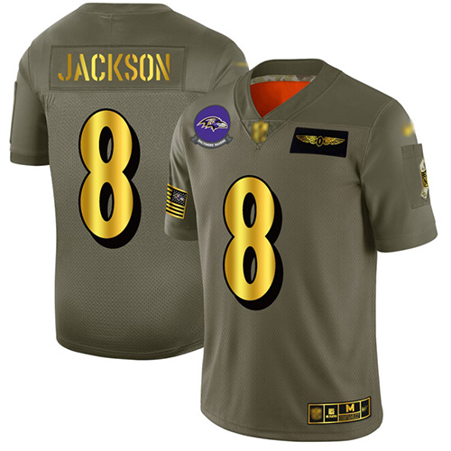 Ravens #8 Lamar Jackson Camo Gold Men's Stitched Football Limited 2019 Salute To Service Jersey