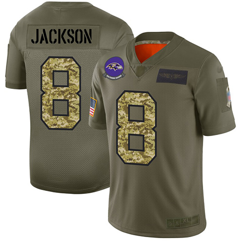 Ravens #8 Lamar Jackson Olive Camo Men's Stitched Football Limited 2019 Salute To Service Jersey