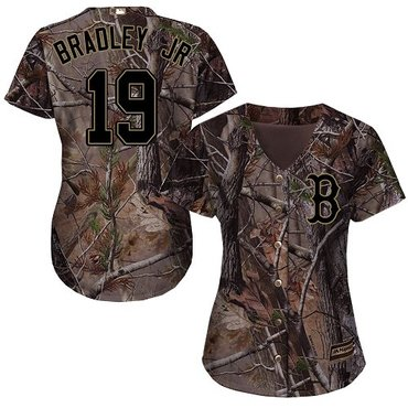39a7a227c Red Sox  19 Jackie Bradley Jr Camo Realtree Collection Cool Base Women s  Stitched Baseball Jersey