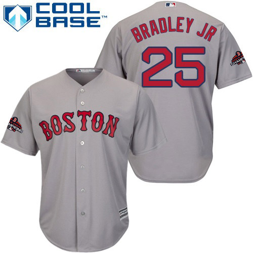 Red Sox #25 Jackie Bradley Jr Grey Cool Base 2018 World Series Champions Stitched Youth MLB Jersey