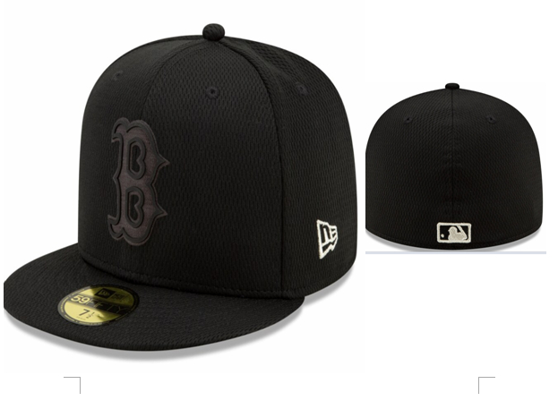 Red Sox Team Logo Black Fitted Hat LX