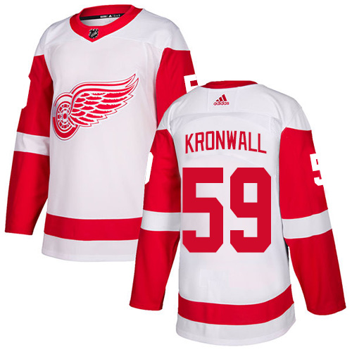 Red Wings #59 Niklas Kronwall White Road Authentic Stitched Hockey Jersey