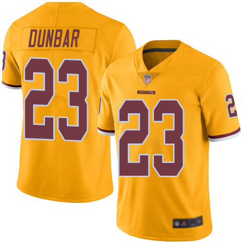 Redskins #23 Quinton Dunbar Gold Men's Stitched Football Limited Rush Jersey
