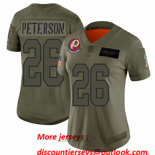 Redskins #26 Adrian Peterson Camo Women's Stitched Football Limited 2019 Salute to Service Jersey