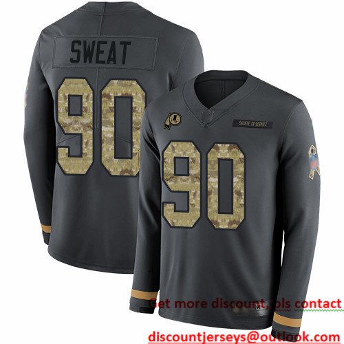 Redskins #90 Montez Sweat Anthracite Salute to Service Men's Stitched Football Limited Therma Long Sleeve Jersey