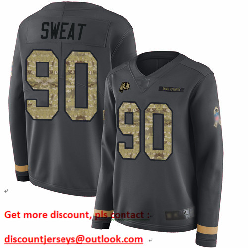 Redskins #90 Montez Sweat Anthracite Salute to Service Women's Stitched Football Limited Therma Long Sleeve Jersey