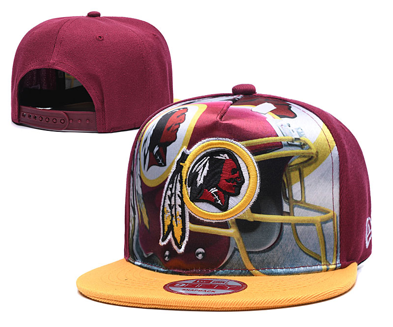 Redskins Team Logo Red Yellow Adjustable Leather Hat TX