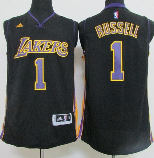 2ce07784bdd Revolution 30 Lakers  1 D Angelo Russell Black(Purple NO.) Hollywood Nights  Stitched NBA Jersey