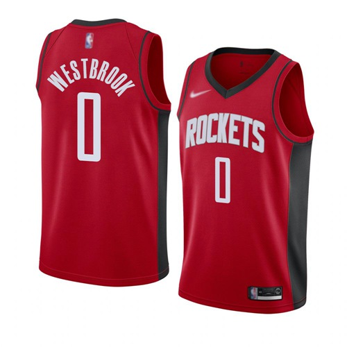 Rockets #0 Russell Westbrook Red Basketball Swingman Icon Edition 2019 2020 Jersey