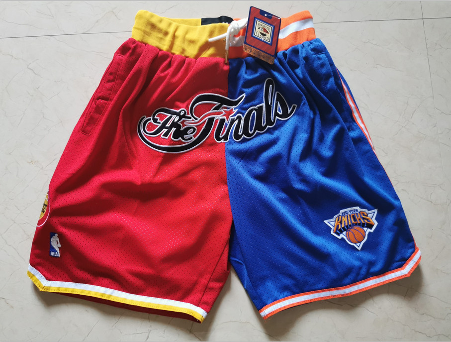 Rockets And Knicks Split White Just Don Throwback Mesh Shorts