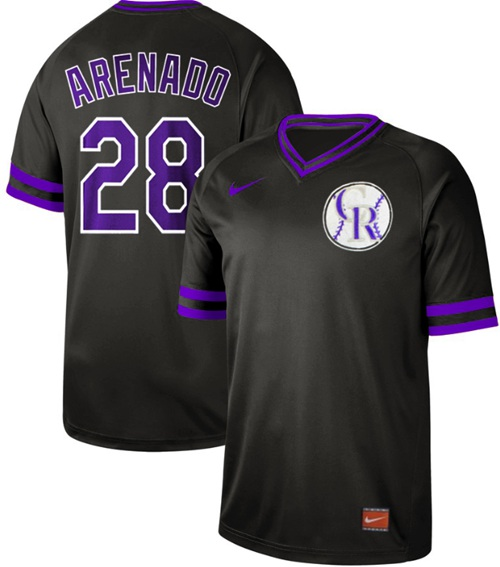 Rockies #28 Nolan Arenado Black Authentic Cooperstown Collection Stitched Baseball Jersey