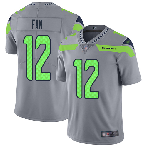 Seahawks #12 Fan Gray Men's Stitched Football Limited Inverted Legend Jersey