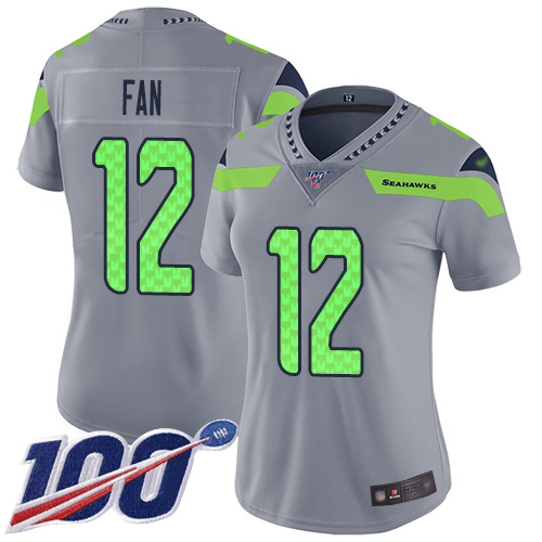 Seahawks #12 Fan Silver Women's Stitched Football Limited Inverted Legend 100th Season Jersey