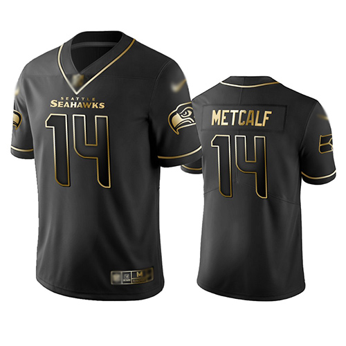 Seahawks #14 D.K. Metcalf Black Men's Stitched Football Limited Golden Edition Jersey