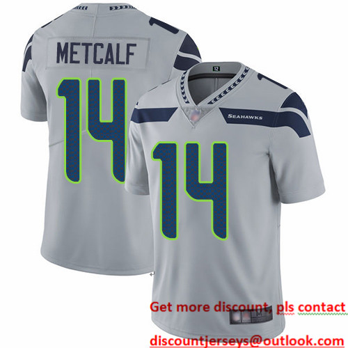 Seahawks #14 D.K. Metcalf Grey Alternate Men's Stitched Football Vapor Untouchable Limited Jersey