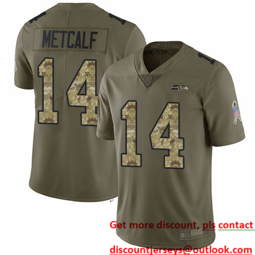 Seahawks #14 D.K. Metcalf Olive Camo Men's Stitched Football Limited 2017 Salute To Service Jersey