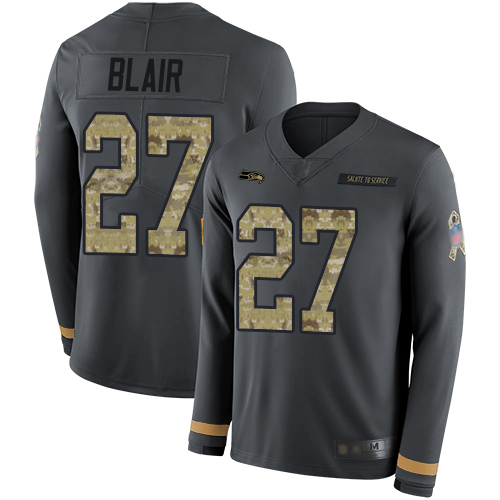 Seahawks #27 Marquise Blair Anthracite Salute to Service Men's Stitched Football Limited Therma Long Sleeve Jersey