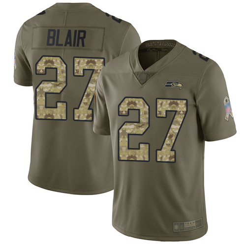 Seahawks #27 Marquise Blair Olive Camo Men's Stitched Football Limited 2017 Salute To Service Jersey