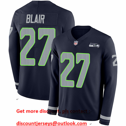 Seahawks #27 Marquise Blair Steel Blue Team Color Men's Stitched Football Limited Therma Long Sleeve Jersey