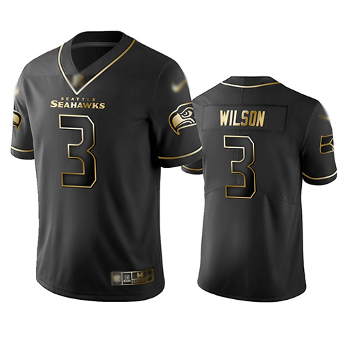 Seahawks #3 Russell Wilson Black Men's Stitched Football Limited Golden Edition Jersey