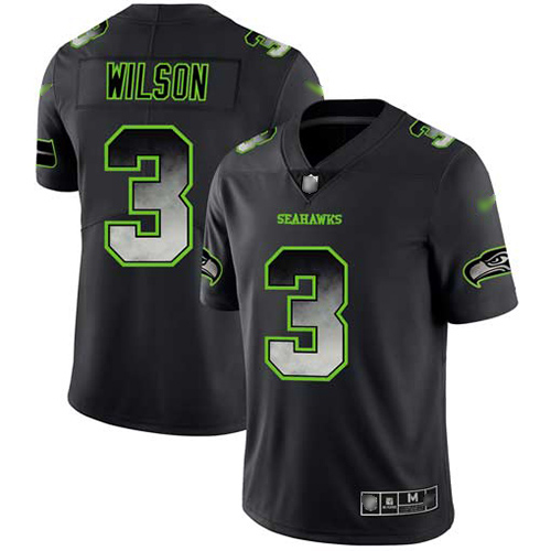 Seahawks #3 Russell Wilson Black Men's Stitched Football Vapor Untouchable Limited Smoke Fashion Jersey