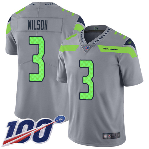 Seahawks #3 Russell Wilson Gray Men's Stitched Football Limited Inverted Legend 100th Season Jersey