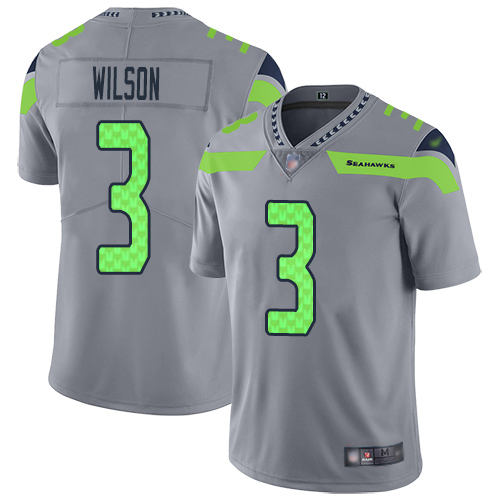 Seahawks #3 Russell Wilson Gray Men's Stitched Football Limited Inverted Legend Jersey