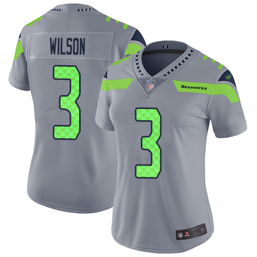 Seahawks #3 Russell Wilson Gray Women's Stitched Football Limited Inverted Legend Jersey