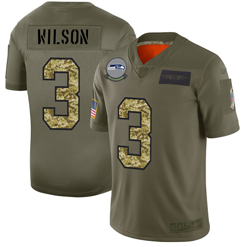 Seahawks #3 Russell Wilson Olive Camo Men's Stitched Football Limited 2019 Salute To Service Jersey