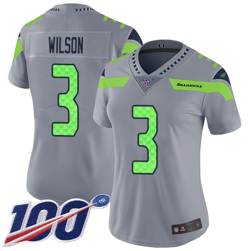 Seahawks #3 Russell Wilson Silver Women's Stitched Football Limited Inverted Legend 100th Season Jersey