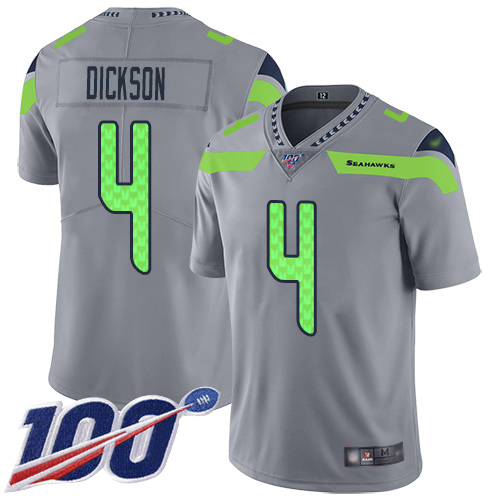 Seahawks #4 Michael Dickson Gray Men's Stitched Football Limited Inverted Legend 100th Season Jersey