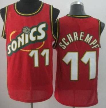 Seattle SuperSonics 11 Detlef Schrempf Red Throwback Revolution 30 NBA Basketball Jersey