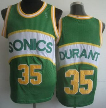 Seattle Supersonic 35 Kevin Durant Green Hardwood Classics Revolution 30 NBA Jerseys