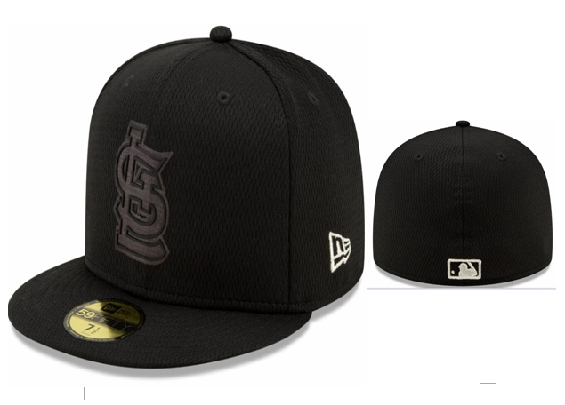 St. Louis Cardinals Team Logo Black Fitted Hat LX