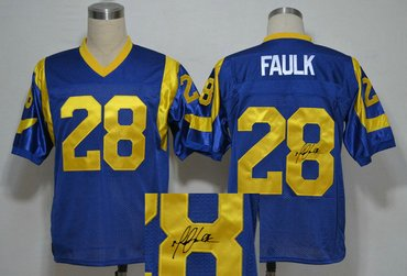 St.Louis Rams #28 Marshall faulk Blue Throwback Jersey(Signed Elite)