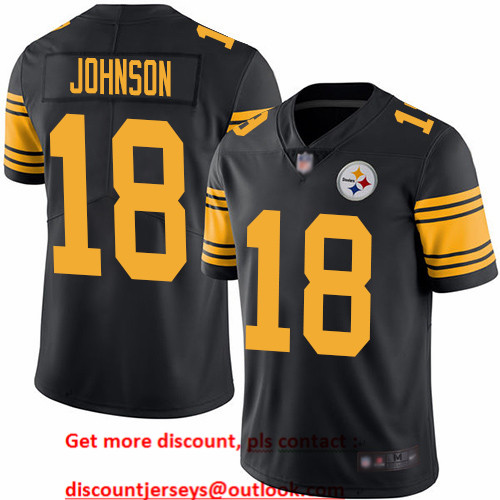 Steelers #18 Diontae Johnson Black Men's Stitched Football Limited Rush Jersey