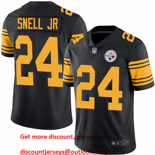 Steelers #24 Benny Snell Jr. Black Men's Stitched Football Limited Rush Jersey
