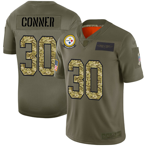 Steelers #30 James Conner Olive Camo Men's Stitched Football Limited 2019 Salute To Service Jersey