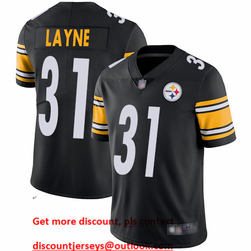 Steelers #31 Justin Layne Black Team Color Men's Stitched Football Vapor Untouchable Limited Jersey