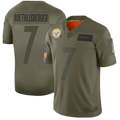 Steelers #7 Ben Roethlisberger Camo Men's Stitched Football Limited 2019 Salute To Service Jersey
