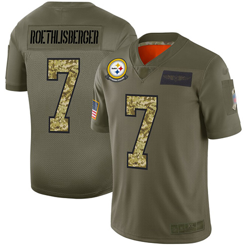Steelers #7 Ben Roethlisberger Olive Camo Men's Stitched Football Limited 2019 Salute To Service Jersey