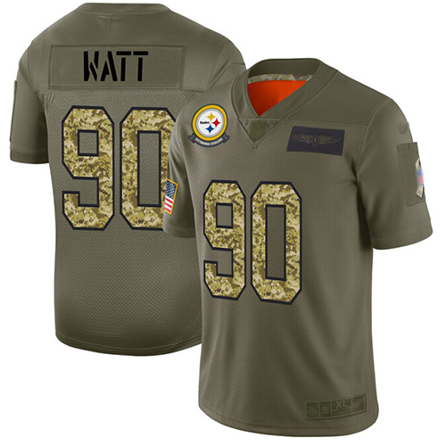 Steelers #90 T. J. Watt Olive Camo Men's Stitched Football Limited 2019 Salute To Service Jersey